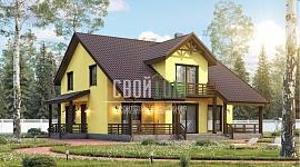 Дом с мансардой, террасой и всеми современными удобствами, спланирован для семьи из 5-7 человек.