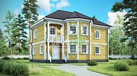 Загородныйдом с двумя этажами и балконом